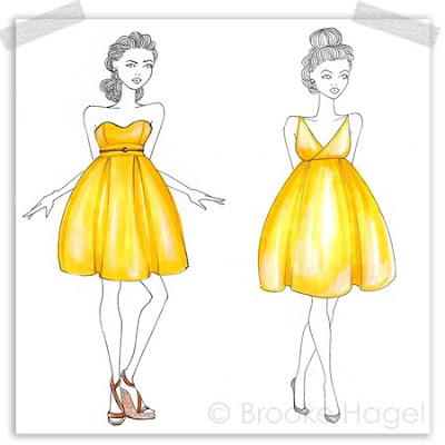 Fabulous Doodles Fashion Illustration Blog By Brooke Hagel Yellow Bridesmaid Dresses