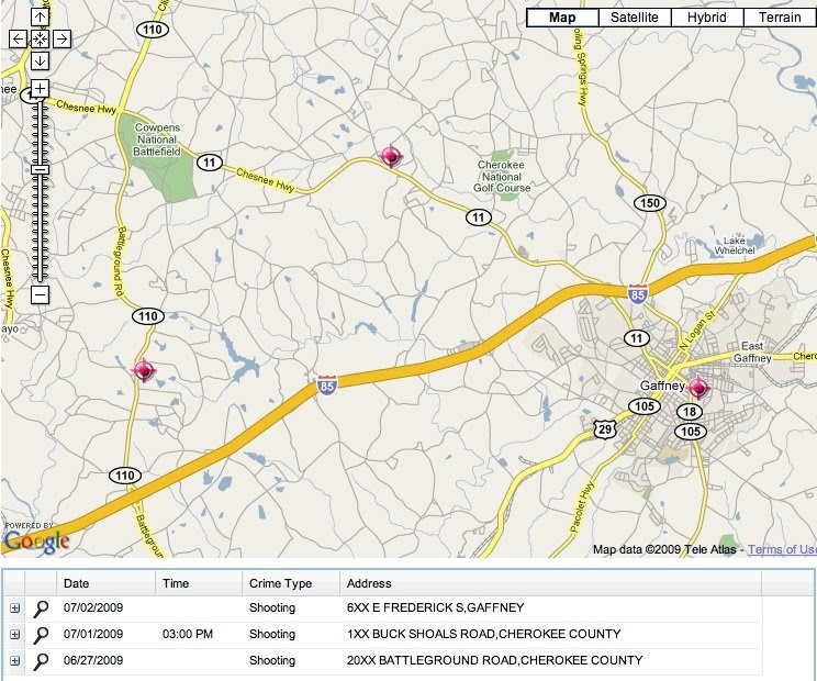 Map Of Killings In Gaffney And Cherokee County