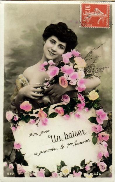 Carte postale ancienne, un baiser