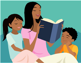 a photo of a young woman reading to children