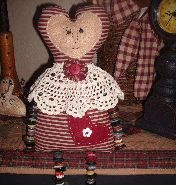 The Krazy Kraft Lady Button Doll Shelf Sitter