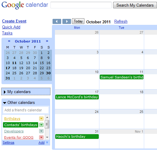 Birthday Calendar for Google Contacts