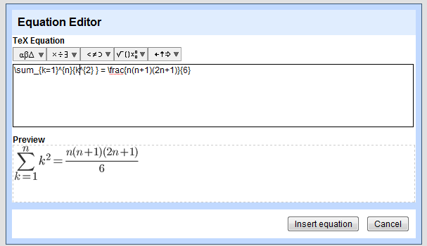 Google Docs Has an Equation Editor