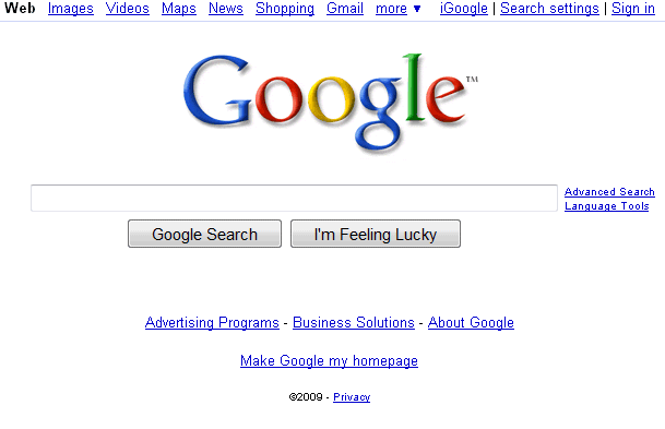 Google 39 s homepage goes back to basics Go to the website