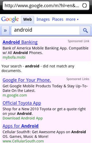 You Can't Search for Android from an Android Phone