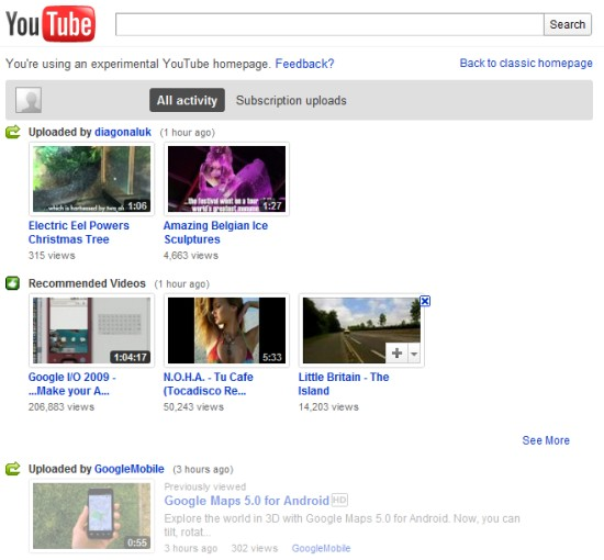 Google Operating System Youtube S Homepage Experiment