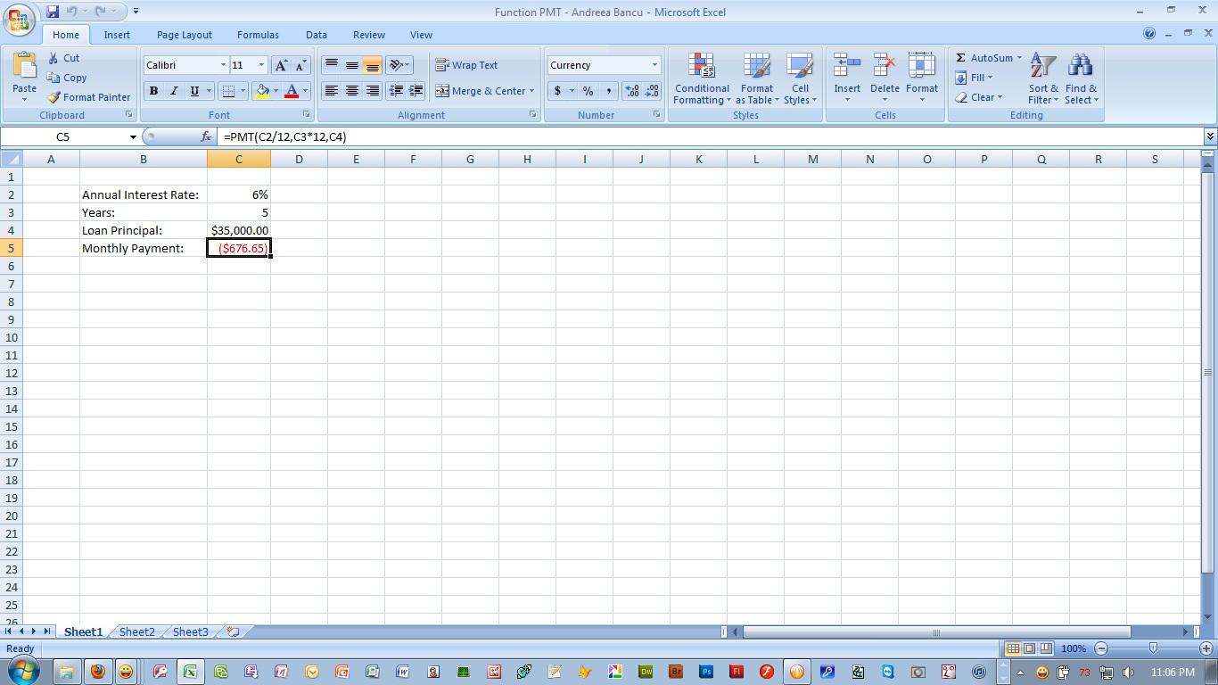 Economic Informatics Excel Formulas