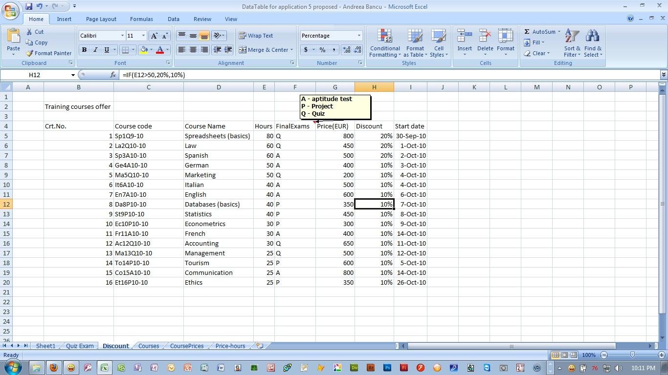 Economic Informatics Excel Practice File For Application 5