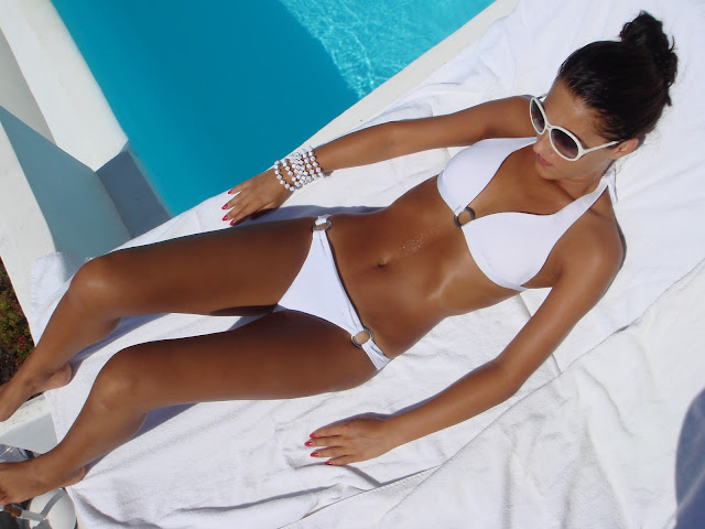 white bikini white sunglasses white accessories, white bikini looks