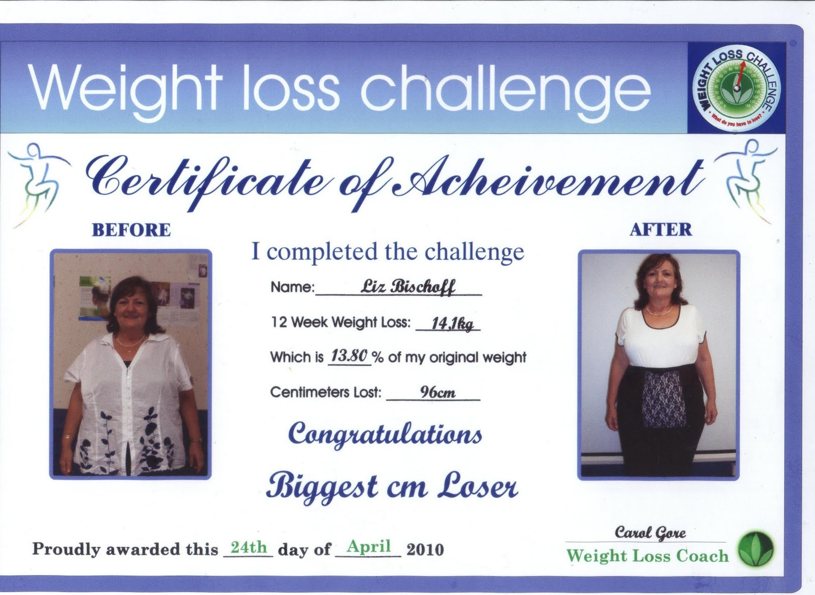 Weight loss challenge for Biggest loser certificate template