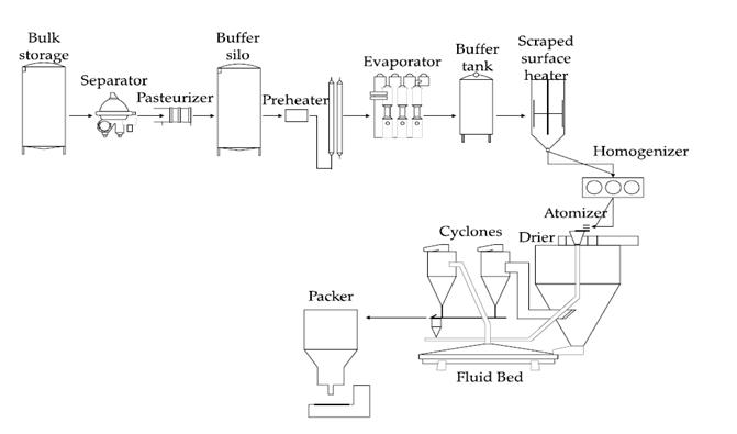 Processing Diagram Of Milk Powders And Yogurt Production