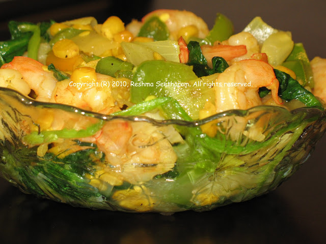 Shrimp and corn stir fry