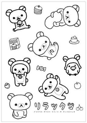 Group Of Rilakkuma Coloring Pages Sketch