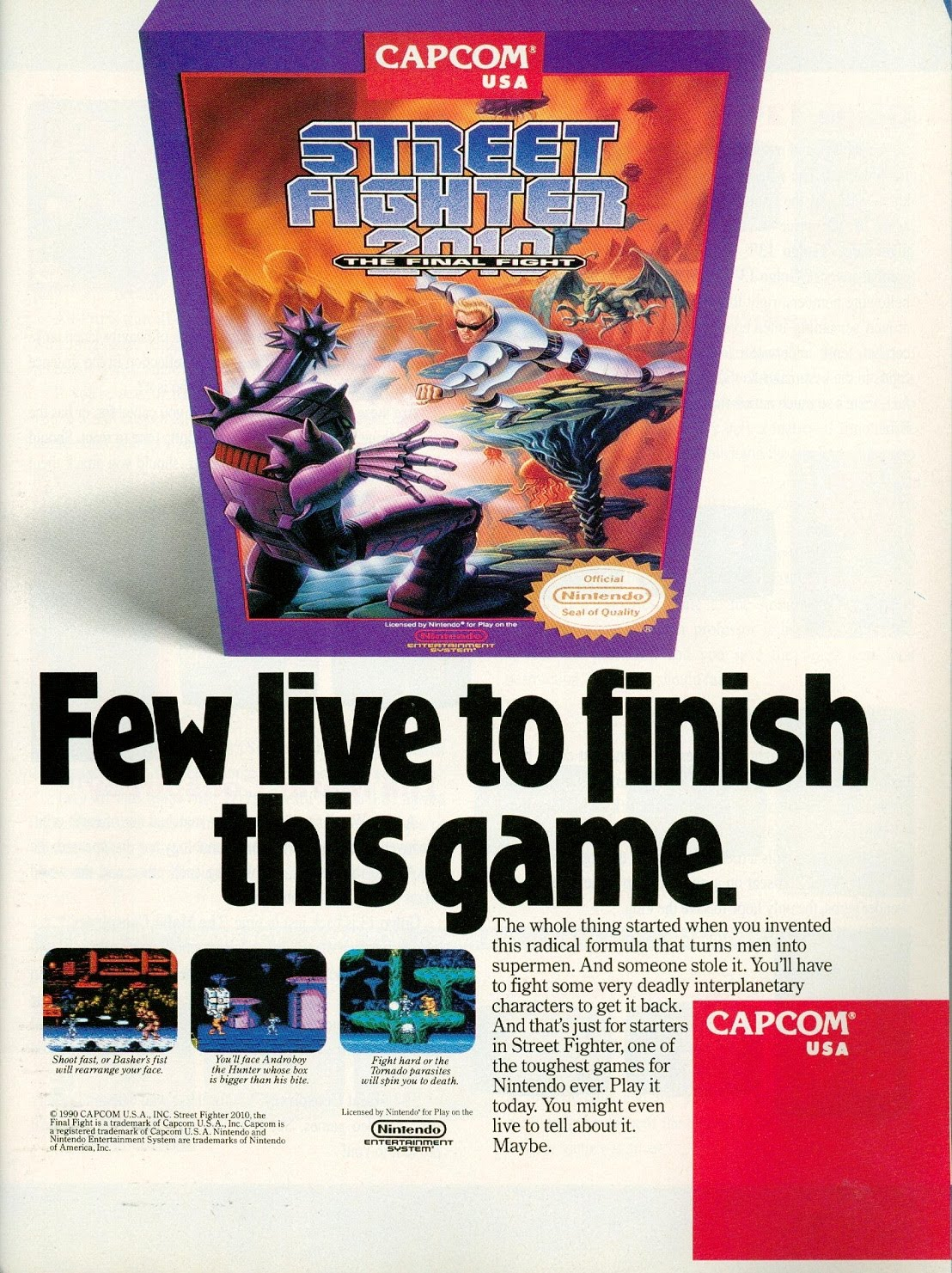 Ads From The Past 033 Street Fighter 2010 The Final Fight Nes