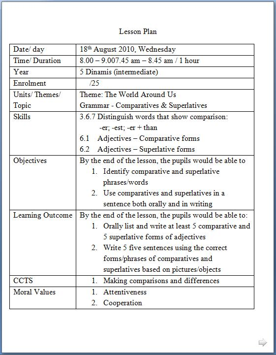 Life as a teacher list of moral values for lesson planning for Efl lesson plan template