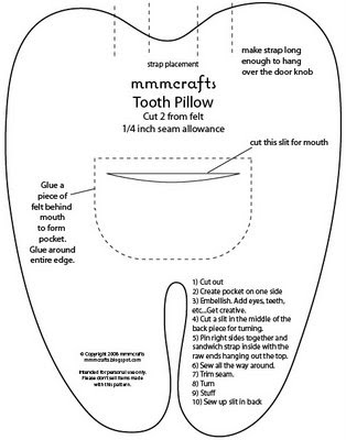 Free Patterns For Tooth Fairy Pillow