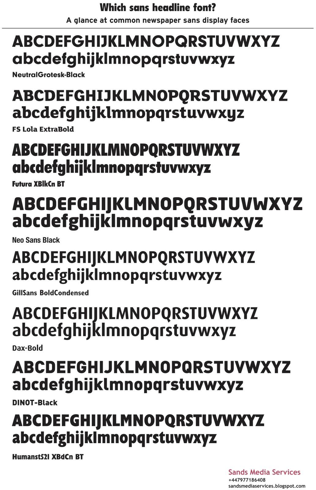 Sands Media Services: Type comparison 2 - sans headline faces