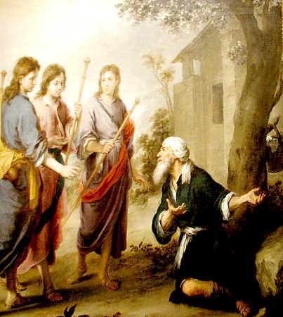 Resultado de imagem para abraão recebe anjos