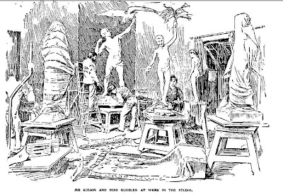 1893 sketch of Henry Hudson Kitson and Theo Alice Ruggles at work in their studio
