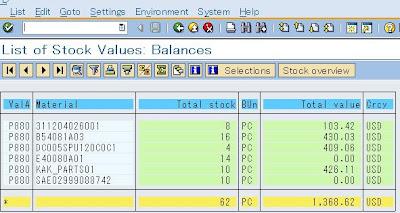 SAP e-mory: SAP MB5L inventory value list