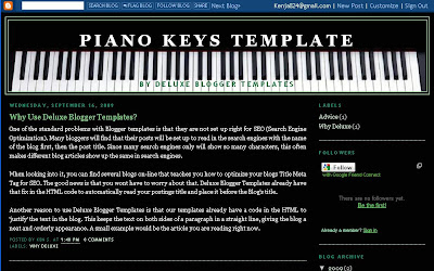 Piano Keys Two Column Template | Deluxe Blogger Templates