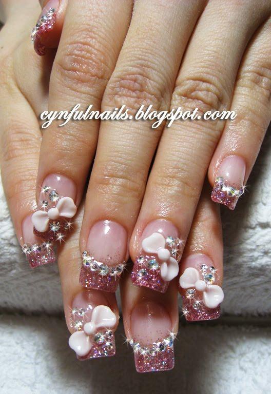 Cynful Nails: Pink acrylic nails.