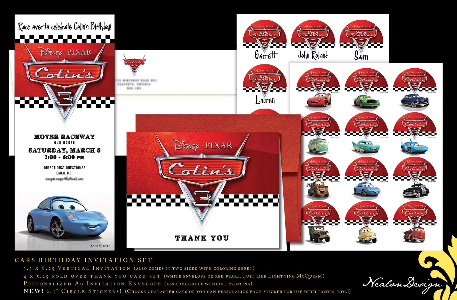 Cars 2 Invitations Personalized