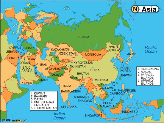 Asia Politica Cartina.Cartina Muta Continente Asiatico