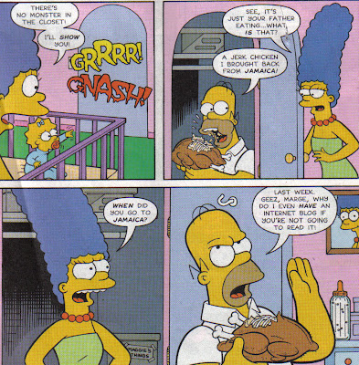 Why is Homer eating in the baby's closet?  Oh, like you don't.