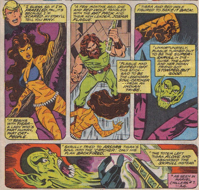 Johnny Storm's disembodied head drops the exposition, but I just like Tigra.