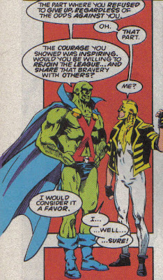 J'onn looks strangely...burly there, and Ray's little booties aren't helping.