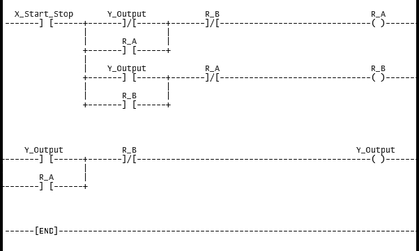 this is a simple ladder diagram for a start / stop circuit using only one  push button  rights are reserved for perfetto from plctalk net