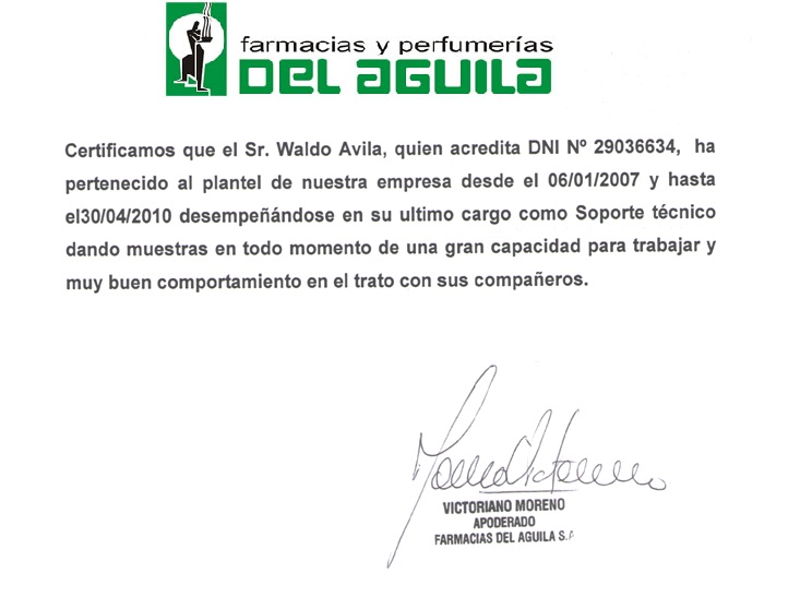 PERFIL LABORAL AVILA WALDO CARTA DE RECOMENDACION