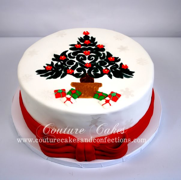 Couture Cakes & Confections: Hand-painted Christmas Tree Cake