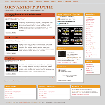 free Ornament putih blogger template with 3 column template and 3 column footer blogger template