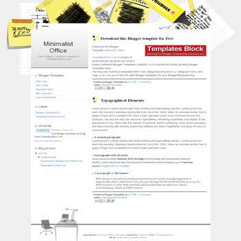 free Minimalist Office blogger template converted from wordpress theme to blogger with 2 column blogger template