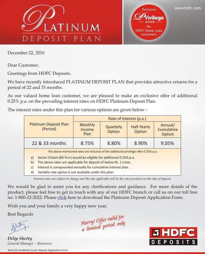 fixed deposit rates hdfc bank ltd