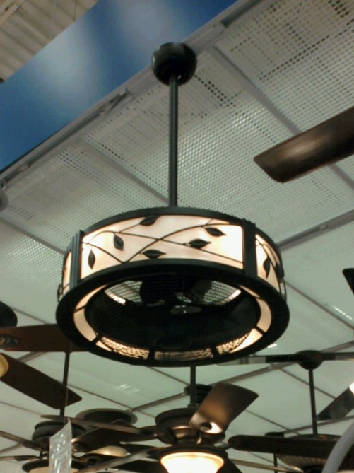 A  Pretty  Solution to the Ceiling Fan    Emily A  Clark I spotted this ceiling fan with a drum shade at Lowe s recently  It was the  only style they carried  but makes me think there may be more options in  the