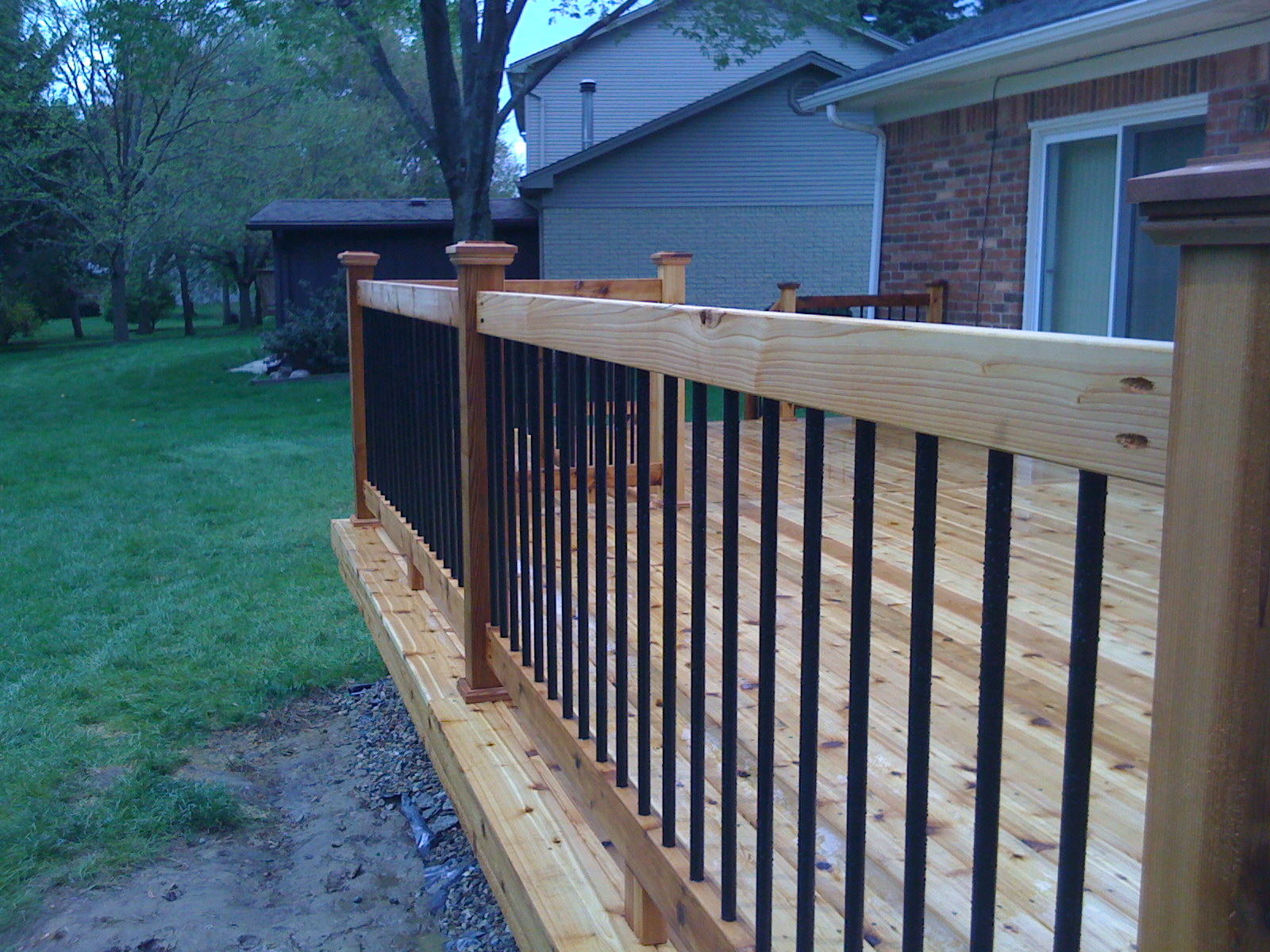 Or We Will Run The Rail Post Above Top And Add A Cap To Posts As You See Here In Picture On Right Which Is Cedar Deck