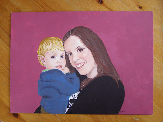 A painting I did of my sister and nephew