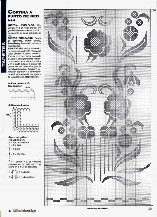 Cortina motivo florcitas en tejido crochet ganchillo holiday and