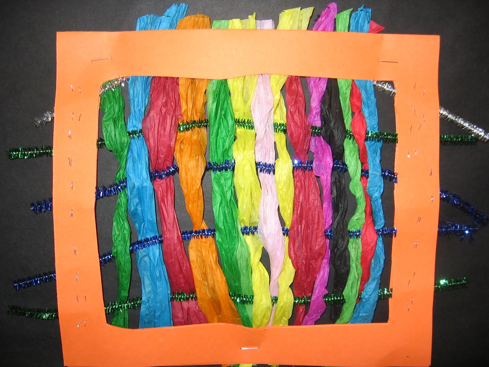 Tissue Paper weaving-- Make Your Own Looms