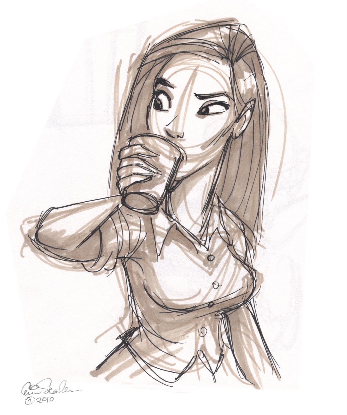 It's just an image of Exceptional Girl Drinking Drawing