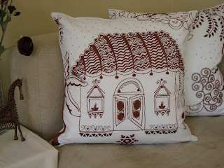 madhubani painting on cushion cover