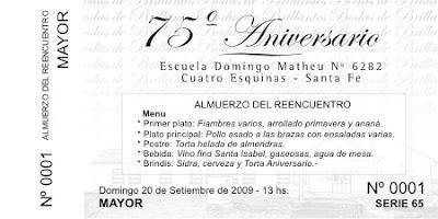 Metal Design Tarjeta Para Almuerzo 75 Aniversario Escuela