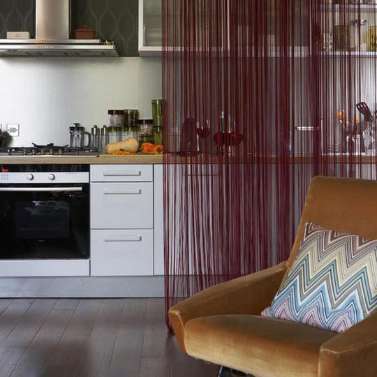 Dividindo ambientes com cortinas. Blog Achados de decoração