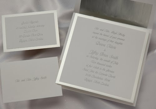 White Linen And Clic Silver Wedding Invitations At The Purple Mermaid
