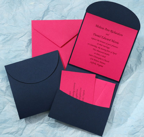 Navy Blue And Hot Pink Pocket Wedding Invitations