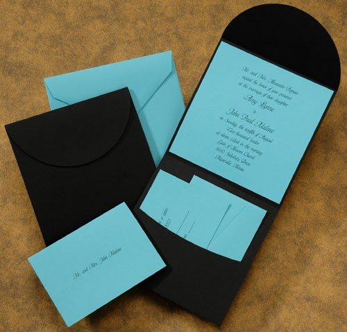Carlson Craft Pocket Wedding Invitations: The Purple Mermaid: Black And Aqua Pocket Wedding