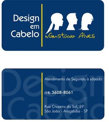 b172b8f16 Novo cartão de visitas do salão Design em Cabelo by Gustavo Alves